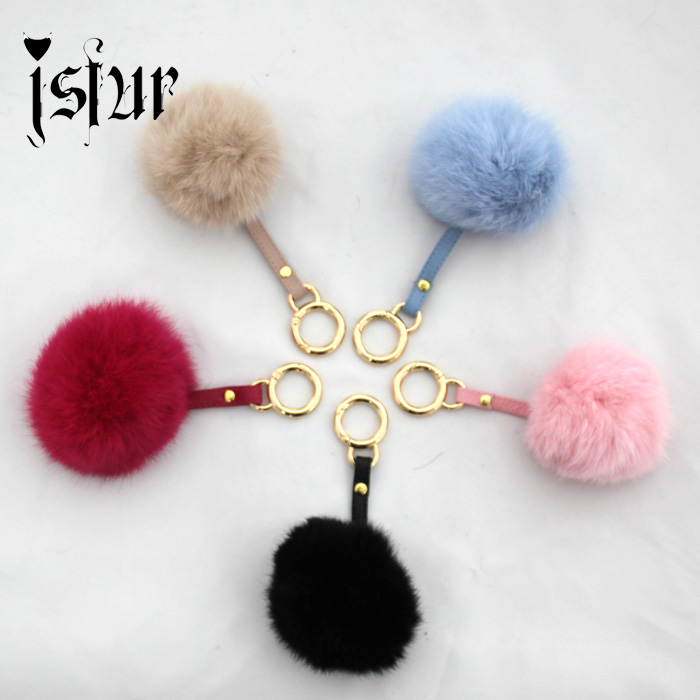 Lovely 5 Colors Real Rabbit Fur Pompon KeyChain Fur ball Key Ring Bag Charm Bag Accessories Quality Fur Pom Pom Fluffy Keychain(China (Mainland))