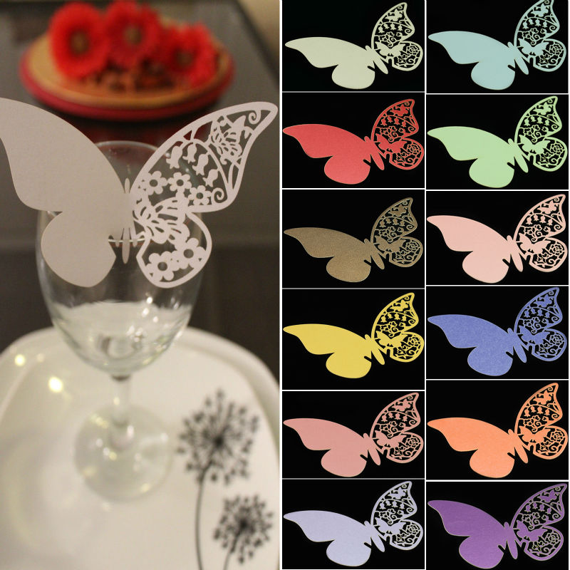100pcs Table Mark Wine Glass Laser Cut Pearlescent Butterfly Name Place Cards for Wedding Party Decoration Products Supplies(China (Mainland))