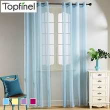 Top Finel Faux Voile Sheer Curtains for Living Room Bedroom Tulle Curtains for Kitchen Window Curtains Drapes Blue Purple Yellow(China (Mainland))