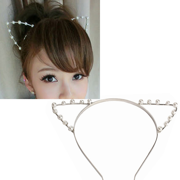 Hot Sale Sexy Cat Ear Shape Head Band Beaded Hair Band Metal Fashion Women Hair Jewelry Gift Accessories(China (Mainland))