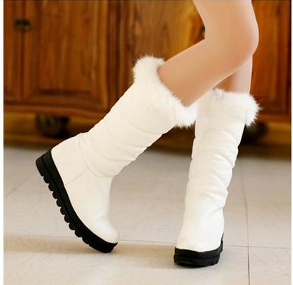 Rabbit fur boots platform wedges thermal soft leather women's shoes black-and-white knee-high snow plus size - Classic Women's store