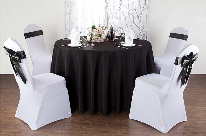 black round table cloth,polyester table cover,for wedding,hotel and restaurant round tables decoration,200GSM thick material(China (Mainland))