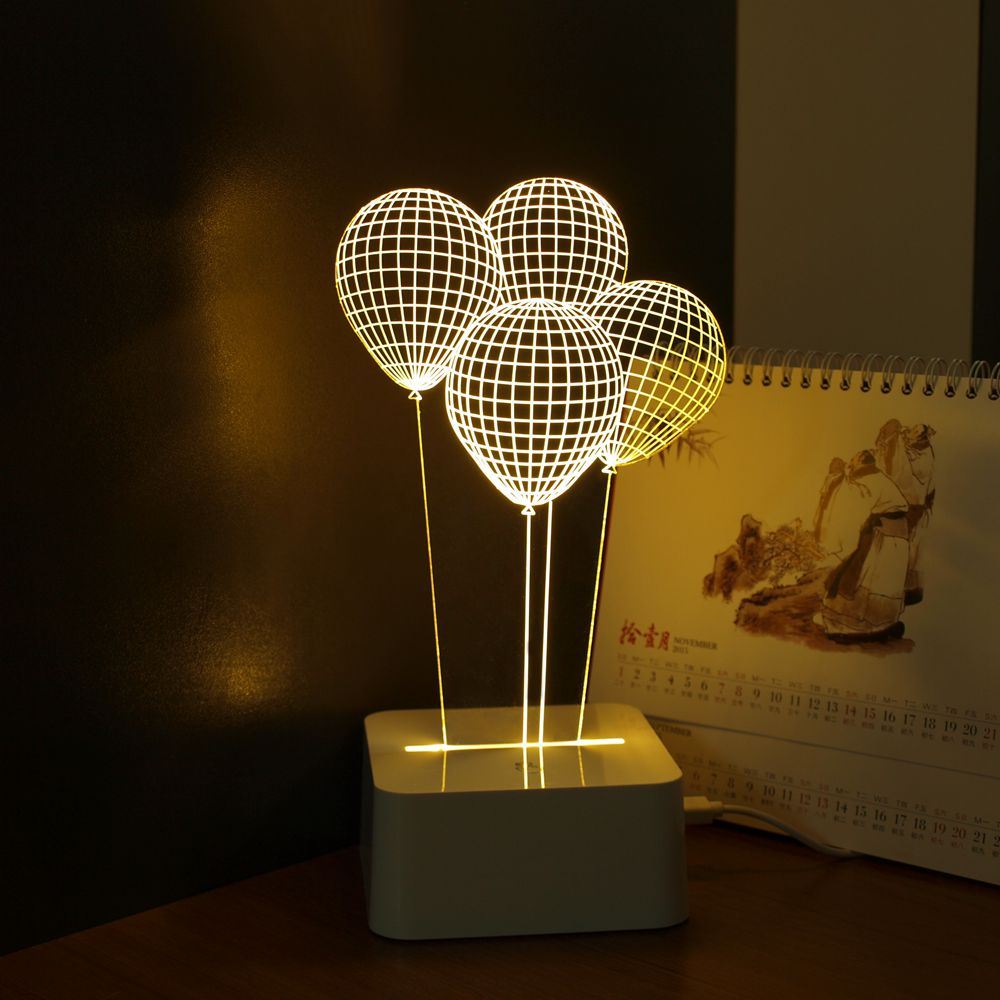 Balloon Novelty Usb Touch 3d Night Light Three Dimensional Dimmable Led Desk Lamp As Home Decor
