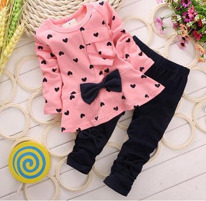2016 New Baby font b Girl b font Sets Heart shaped Print Bow Cute 2PCS Kids