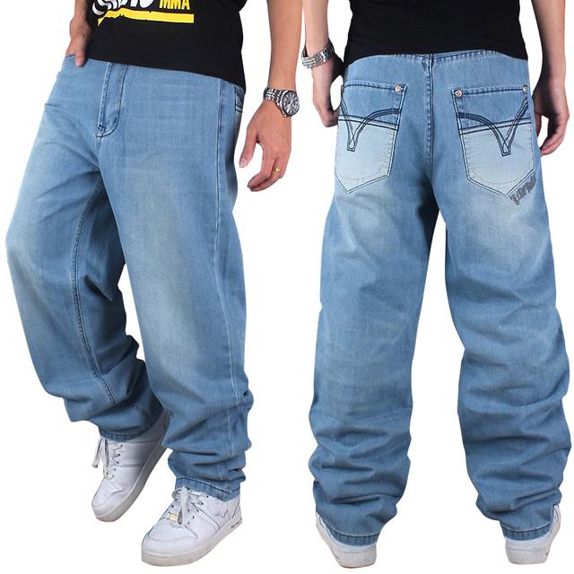 Мода Европейский Хип-Хоп Мужчин Джинсы Плюс Размер Свободные брюки Стиральные Мужские ...