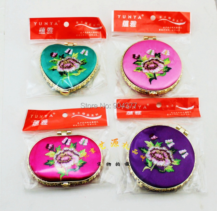 Novelty Silk Embroidered Cosmetic Compact Mirror Birthday Party Favors Gifts Folding Double Side 50pcs/lot mix color Free(China (Mainland))