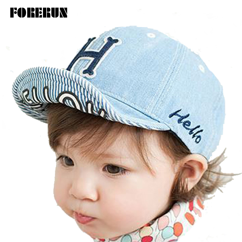2016 New Spring Baby Hat Letters Hello Super Soft Kids Baseball Hat Solid Baby Boy Beanies Summer 100% Cotton Caps Girls Visors(China (Mainland))