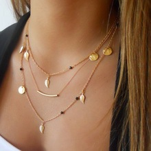 Buy Kittenup New Gold Silver Color Chain beads Leaves Pendant necklace fashion jewelry multi layer necklaces women for $1.45 in AliExpress store