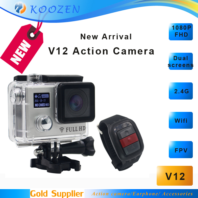 WIFI Action Camera V12 Dual screens FHD 1080P 2.4G Watch Remote Control Waterproof Camcorder(China (Mainland))