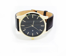 Gold Watches Men No logo name Genuine Leather Strap Quartz Movement with Date