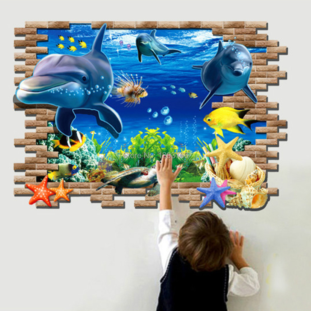 Buy 3d fish seabed wall sticker nursery for Ocean decorations for home