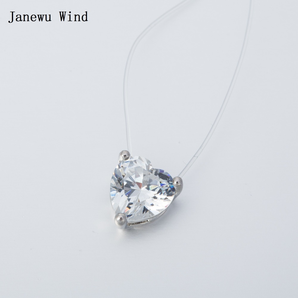 Janewu Wind Transparent Invisible Line Super Shinning Choker Necklace Women Fishing Line Heart Crystal pendant Necklace female(China (Mainland))