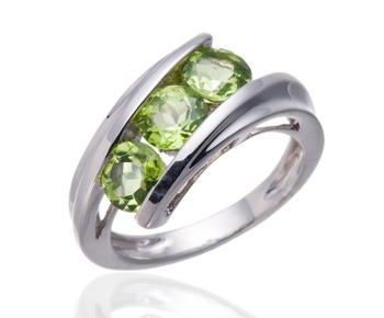 Women's Solid 925 Sterling Silver Natural Peridot 3-Stone Gemstones Ring Fine Jewelry
