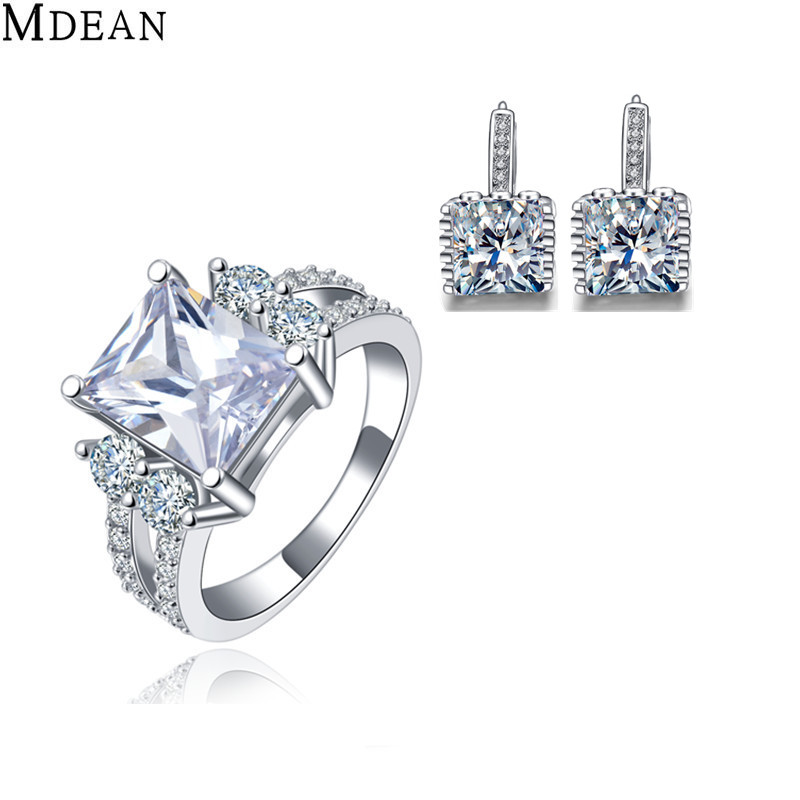 MDEAN Jewelry Sets Square CZ Diamond Engagement vintage Ring+Earring fashion Accessories Luxury Wedding Jewellery(China (Mainland))
