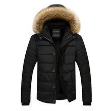 2019 модная зимняя куртка для мужчин с меховым воротником, пальто с капюшоном, толстая бархатная теплая парка, Мужская свободная куртка, jaqueta ...(China)