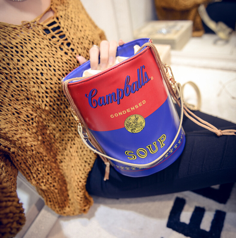 2015 new European fashion personality beer barrel small bag printing chain pumping single shoulder - LITTLE DREAM SHOP store