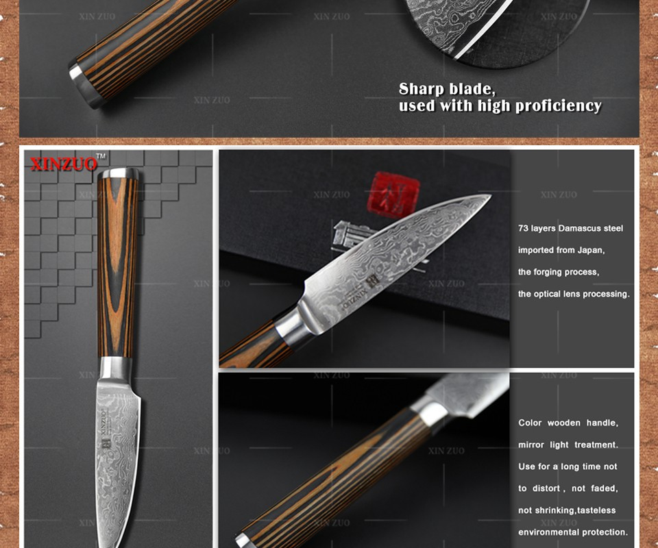 "Buy XINZUO NEW 3.5"" fruit knife Damascus kitchen knives Japanese vg10 paring knife damascus steel table parer knife FREE SHIPPING cheap"