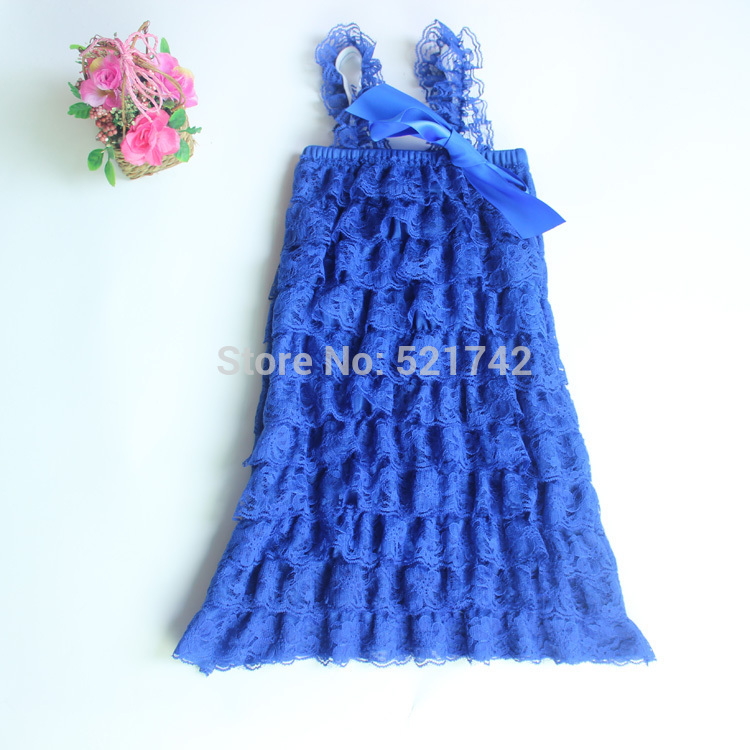 fashion baby royal blue  girl lace petti dress with straps and ribbon children girls ruffle dresses kid clothes LS140305<br><br>Aliexpress