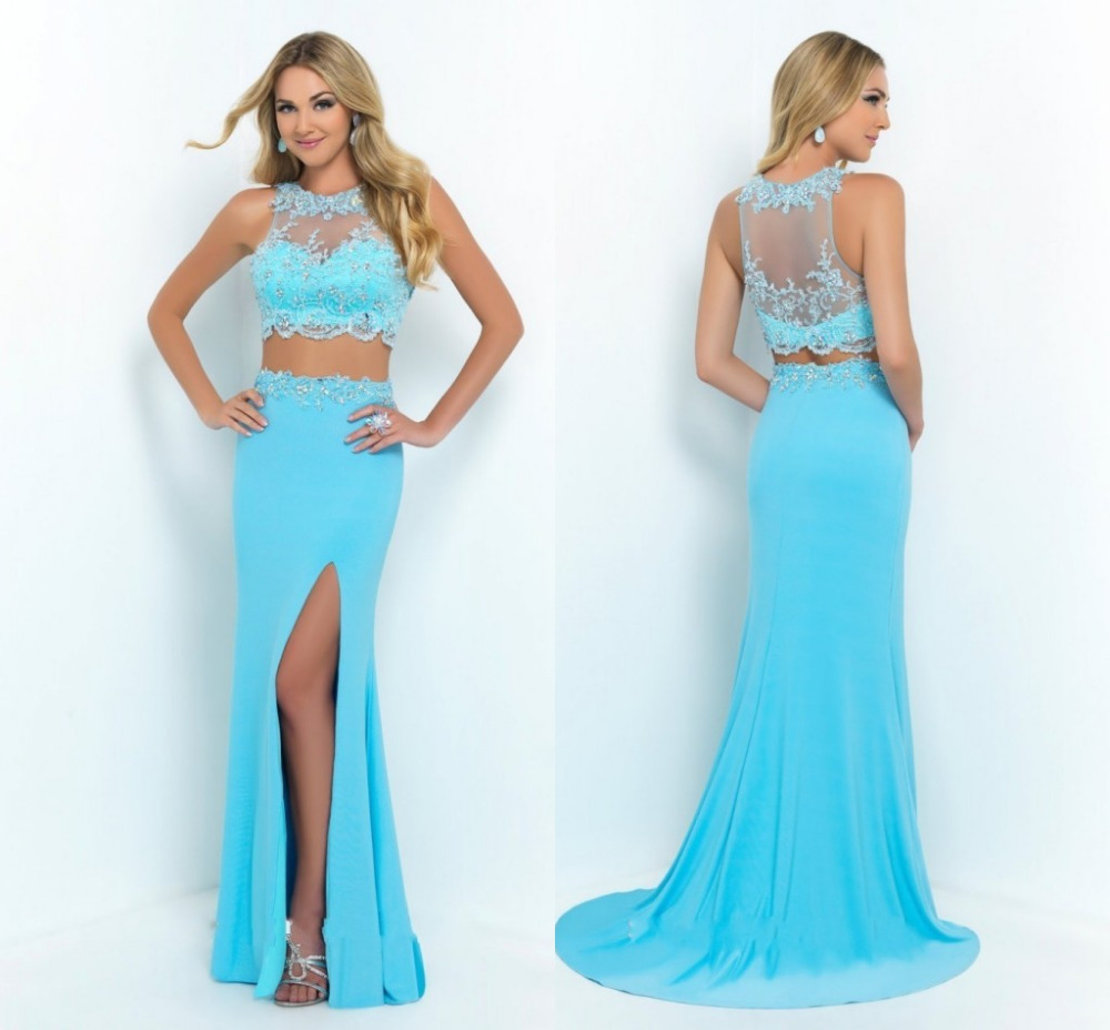 2015 Sexy 2 Two Piece Prom Dresses Beads Pattern Leg Slit High Long Pageant Party Gowns Light