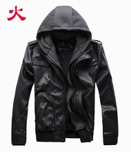 2014 Outerwear Slim with A Hood Leather Clothing Black Short Design Male Leather Coat Plus Size Male(China (Mainland))