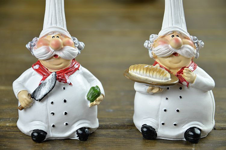 Set of kitchen restaurant cuisine chef figurine bakery