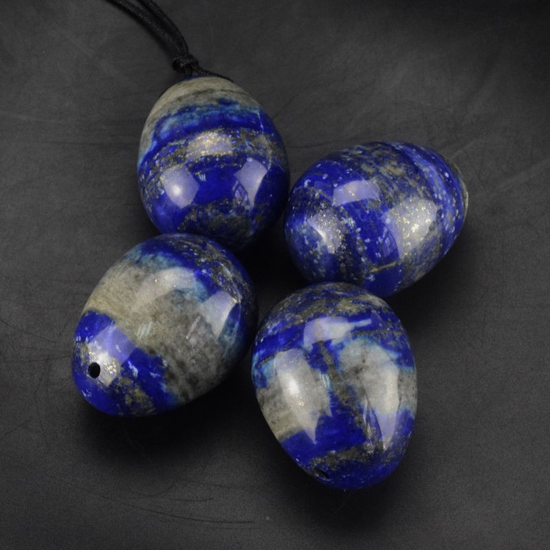 Drilled Natural Lapis Lazuli Yoni Eggs  Pelvic Kegel Exercise Vaginal Tightening Ben Wa jade for Women Health Care 40*35mm