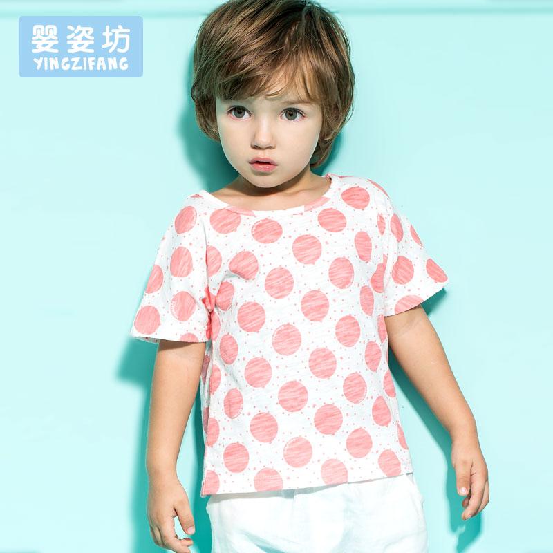 2016 Summer Baby Boys Girls Cute Casual Style Wave Cotton Short Sleeve Shirt Free Shipping(China (Mainland))
