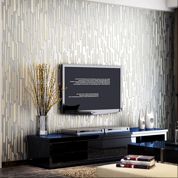 Modern luxury silver 3d striped wallpaper 3d relief murals for Silver wallpaper living room