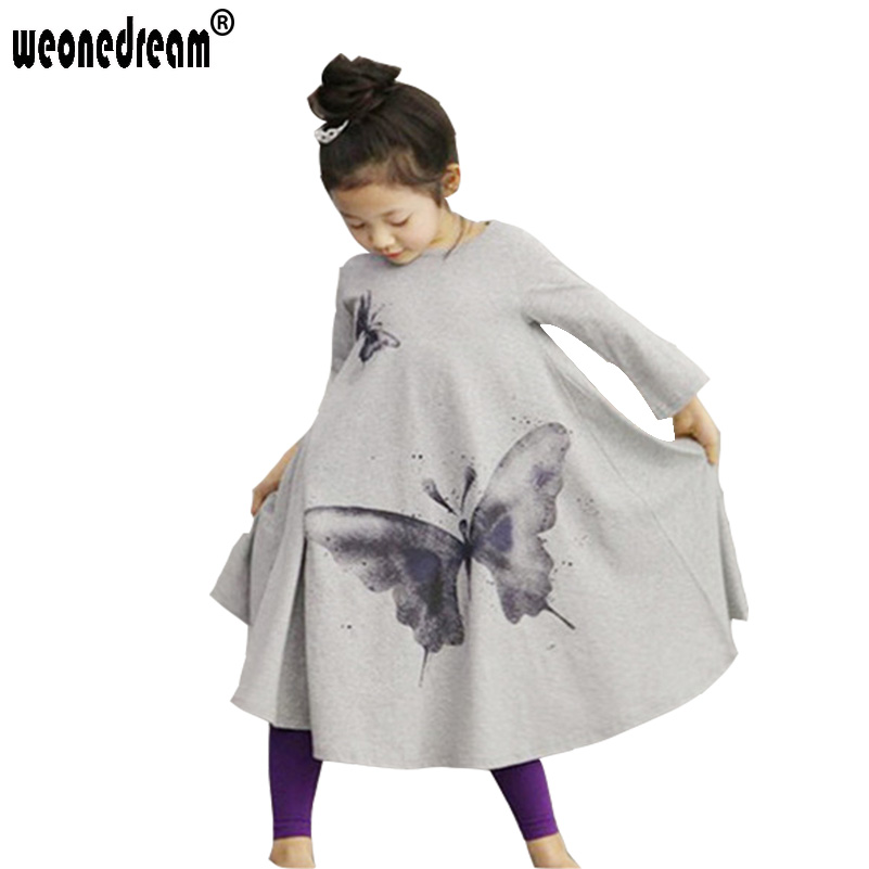 Baby Girls Princess Dress 2016 Spring and Autumn Long Sleeves Casual Big Butterfly Print Toddler Girl Dress Tutu Girls Clothing(China (Mainland))