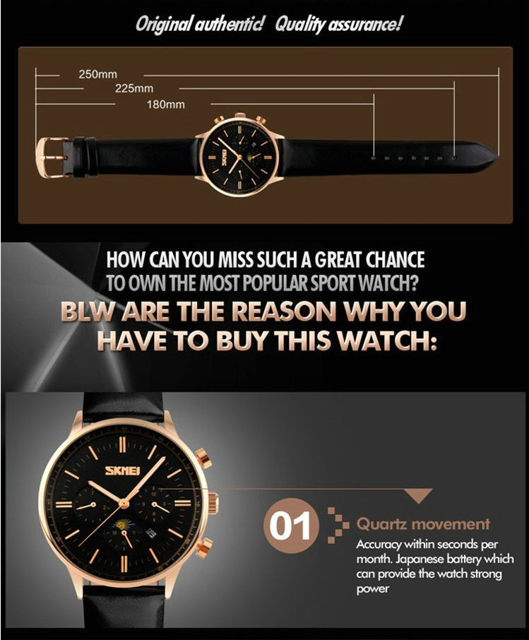 Продвижение роскошные мужчины бренд, мужчины розовое золото мужской часы Моды Кварцевые водонепроницаемые спорт бизнес Наручные Часы Кожа