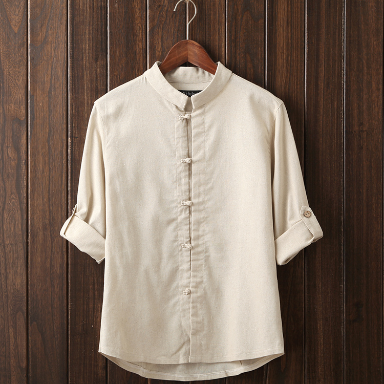 Stand collar shirt male linen plate buttons fluid tang for Three button collar shirts