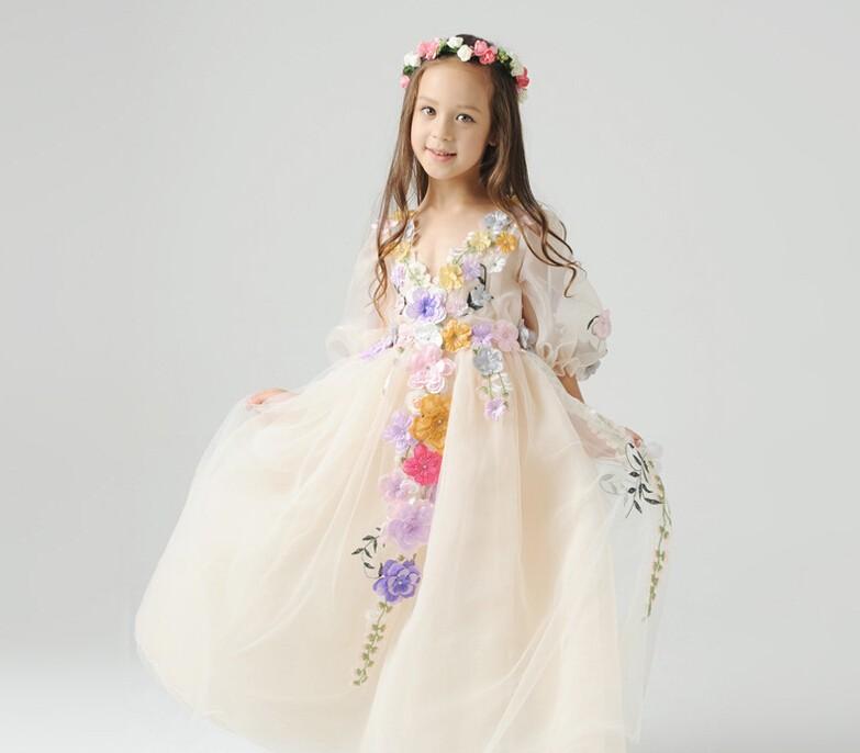 Скидки на Красивая феерических девушки платье принцессы дети горький блошница горький Хэллоуин показать платье Pageant платье HB1134