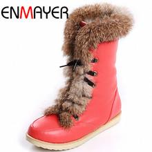 ENMAYER Plus Size Marca Planos de La Manera Atan Para Arriba la Nieve de Las Mujeres Pelo de Conejo botas de Mujer Zapatos Botas de Invierno Caliente de La Gota gratis(China (Mainland))