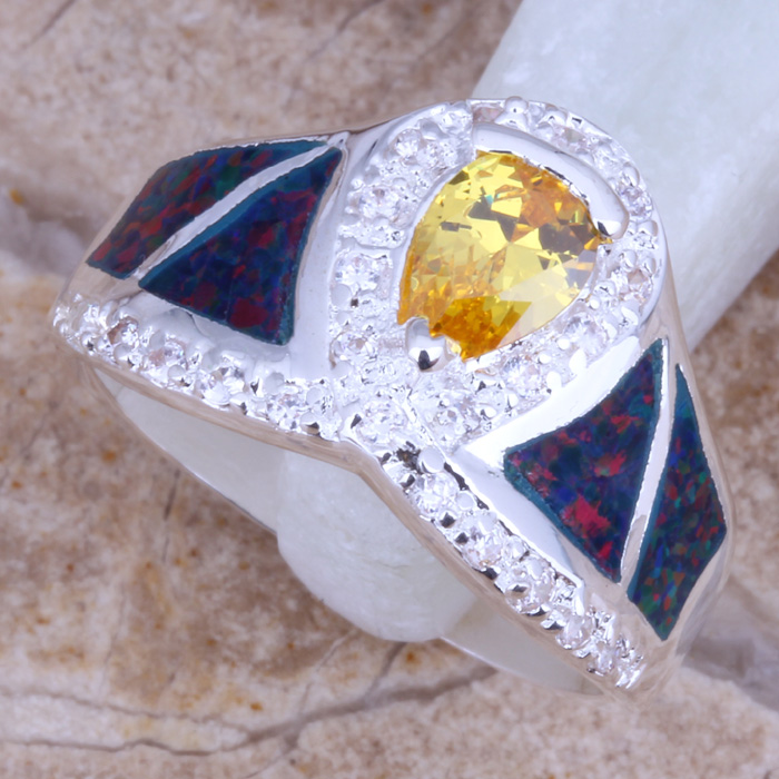 Incredible Purple Fire Opal Yellow Citrine Silver Plated Fashion Jewelry Ring Size 8 A606(China (Mainland))
