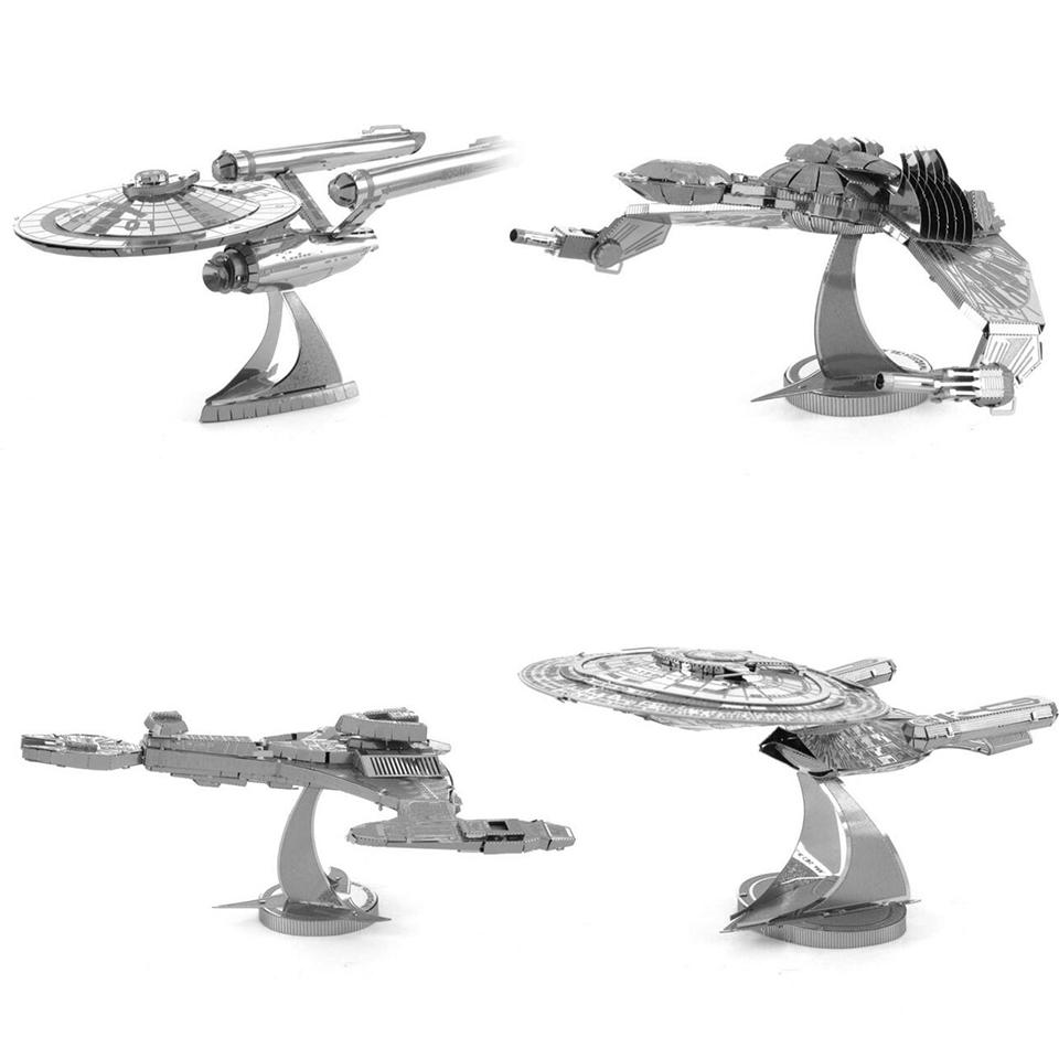 SAINTGI star wars Etching Enterprise uss Trek Space ship 3D metal model Enterprise NCC1701 action figure DIY collection model(China (Mainland))