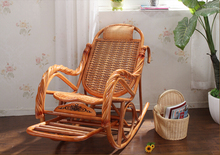Luxury Rattan Chair Wicker Furniture Indoor Living Room Glider Recliner Modern Rattan Easy Adult Rocking Chair(China (Mainland))