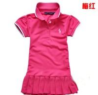 Free Shipping NEW Fashion 1PC/Lot  Summer Baby  Girls Cute Sport Color Stripe POLO  Dress Baby Girl Cotton Fashion Sport  Dress