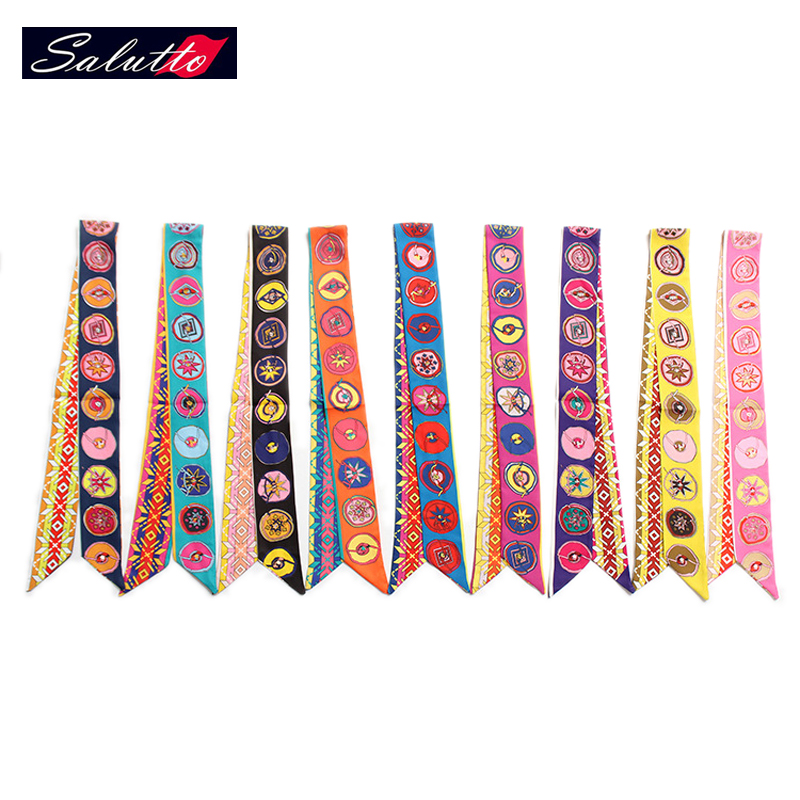 SALUTTO High Quality Chiffon Extra Long100X4cm Lepord Twilly Ladies Scarf Small Bag Bandeau Tie Multifunction(China (Mainland))