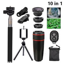 Buy 2017 10in1 Camera Lens Kit 8x Telephoto Lenses Fisheye Wide Angle Macro Lentes Selfie Stick Tripod iPhone 6 s 7 Xiaomi Meizu for $13.34 in AliExpress store