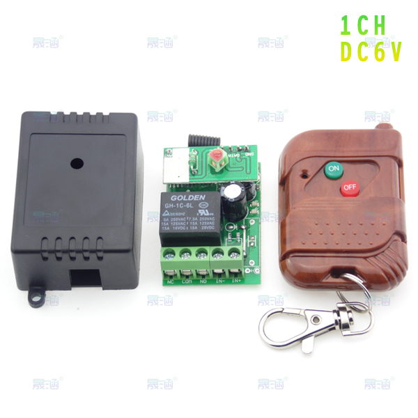 DC 6V 1 RF Wireless Remote Control Switch + Mahogany two key wireless remote control (button graphic: two color ON / OFF)(China (Mainland))