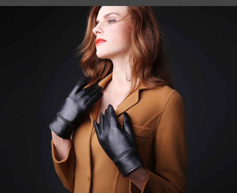 DL-11403 2016 Mens fashion winter warm thick leather gloves Genuine sheepskin gloves Female Real Leather driving sports gloves(China (Mainland))