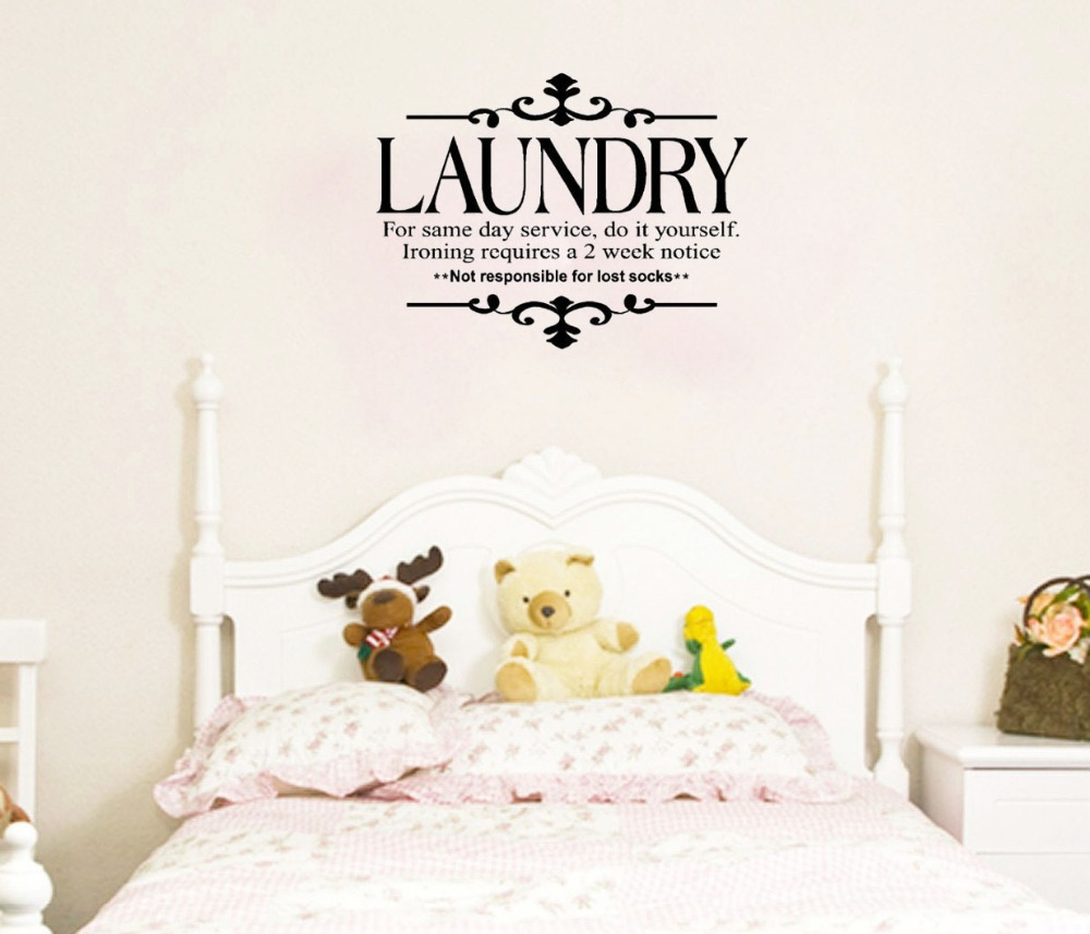 Laundry for Same Day Service Do It Yourself wall decals vinyl stickers home decor living room decorative sticker wallpaper(China (Mainland))