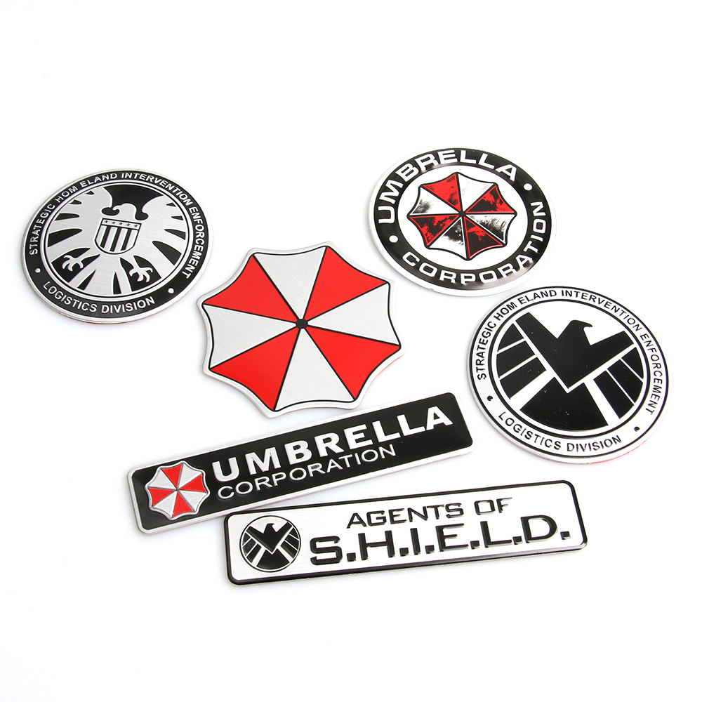 3D Stickers Aluminum Umbrella Corporation Car Sticker and Decals 2 Types Car Styling 3D Car Decor For BMW AUDI VW Ford Stickers(China (Mainland))