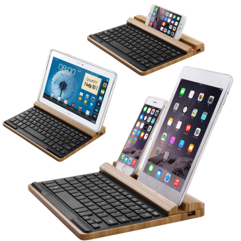 Universal Bamboo Bluetooth Keyboard And Holder,Wireless Wooden Multimedia Keyboard For Windows/Android/IOS Tablet & Smart phones(China (Mainland))