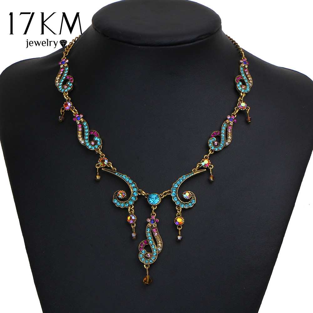 17KM New Vintage Colorful Crystal Tassel Flower Statement Necklace Women Gold Color Pendant Collar Maxi Ethnic Jewelry