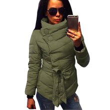 Winter jacket women Cotton down coat high collar with belt parkas for women winter 3 colors warm outerwear coats(China (Mainland))