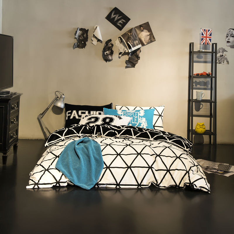 mixed black lines white sheets sets simple fashion style linens high quality cotton Queen/Full/Double size bedding sets(China (Mainland))