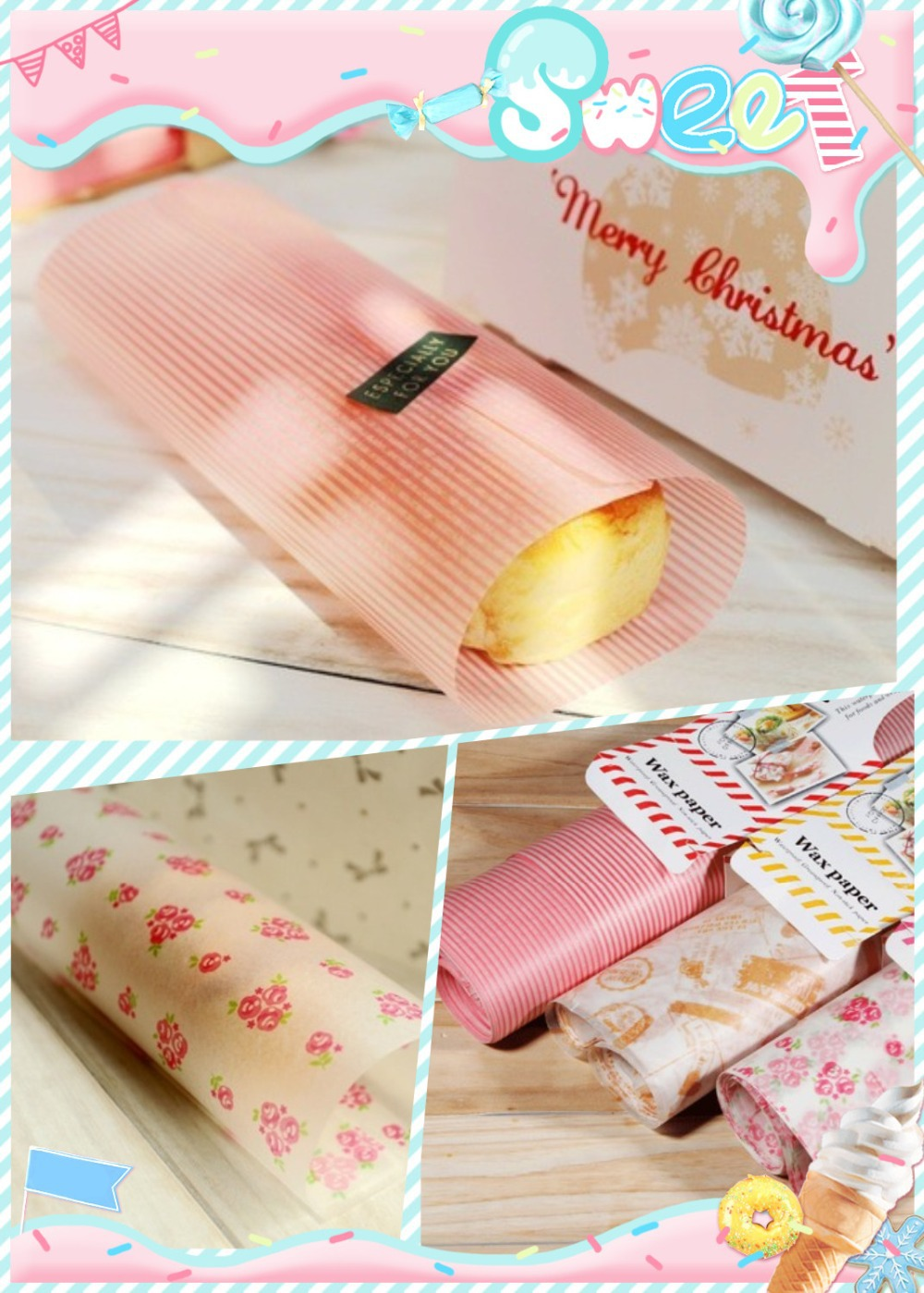 50pcs Pink Stripe Pink Flower Coating Paper For Sandwich Packaging Food Oil Paper Wax Paper Baking Oil Paper 21.8x25cm(China (Mainland))