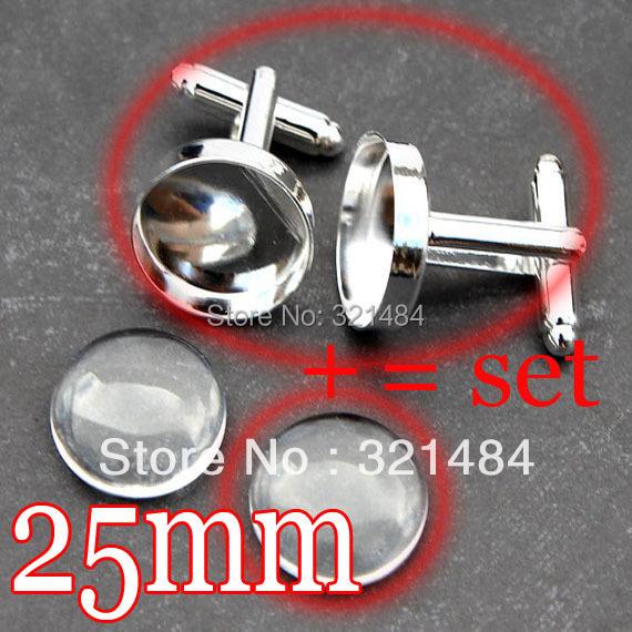 Здесь можно купить  Hotsale DIY 100set Rhodium plated metal 25mm glass cabochon+cufflink setting=set Cuff Links Cufflink Base Blank Bezel Findings  Ювелирные изделия и часы