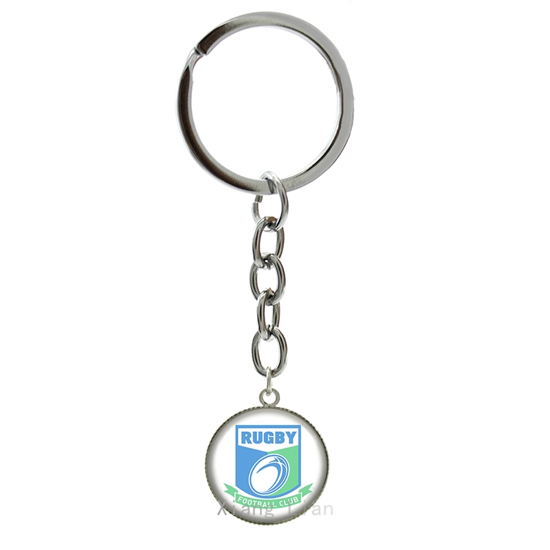 2016 new fashion Rugby jewelry football club art picture glass cabochon keychain sports team Souvenirs Father's Day gifts NF021(China (Mainland))